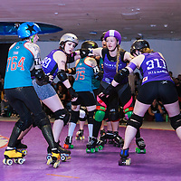 Rainy City Roller Derby Tender Hooligans take on Wirral Roller Derby's Savage Lillies at The Thunderdome, King Street, Oldham in the Womens Tier 2 North British Championships, 2017-02-18