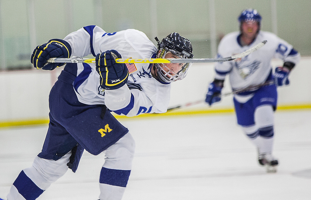 The Fairchild Air Force base varsity hockey team named the Falcons played their annual blue vs. white hockey game at Eastern Washington University on May 14, 2014.