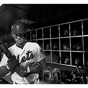 David Wright, New York Mets, preparing to bat in the dugout during the New York Mets Vs Atlanta Braves MLB regular season baseball game at Citi Field, Queens, New York. USA. 22nd September 2015. Photo Tim Clayton