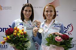 Marija Sestak and Sonja Roman at welcome press conference after European Athletics Indoor Championships Torino 2009, AZS, Ljubljana, Slovenia, on March 9, 2009. (Photo by Vid Ponikvar / Sportida)