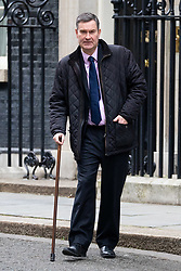 © Licensed to London News Pictures. 29/01/2019. London, UK. Justice Secretary David Gauke leaves 10 Downing Street with the aid of a walking stick, after attending a Cabinet meeting this morning. Photo credit : Tom Nicholson/LNP