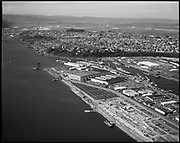 "Ackroyd 20413-7. ""Port of Portland. Aerials. March 2, 1978"" ""Swan Island"" (tanker moored on lagoon side)"