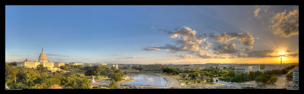 Spectacular panoramic photograph of Washington, DC.  Includes U.S. Capitol, National Gallery of Art, Washington Monument, Constitution Avenue.  Print Size (in inches): 15x4.5; 24x7; 36x11; 48x15; 60x18.5; 72x22.5.