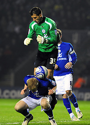 Leicester City's Ricardo fumbles a cross and it lands on Leicester City's Ben Mee - Photo mandatory by-line: Joe Meredith/JMP - 18/02/2011 - SPORT - FOOTBALL - Championship - Leicester City v Bristol City  - Walkers Stadium, Leicester, England