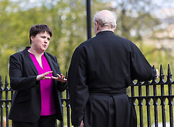 Scottish Conservative and Unionist Leader, Ruth Davidson seeks divine intervention before she casts her vote in the Local Council Elections from a priest at the St Mary's Cathedral<br /> <br /> Local Government Elections are taking place throughout Scotland to decide which parties will control the local councils.