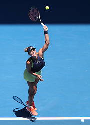 MELBOURNE, Jan. 22, 2018  Angelique Kerber of Germany serves during the women's singles fourth round match against Hsieh Su-wei of Chinese Taipei at Australian Open 2018 in Melbourne, Australia, Jan. 22, 2018. Kerber won 2-1. (Credit Image: © Bai Xuefei/Xinhua via ZUMA Wire)