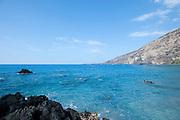 The blue waters of Kealakekua bay on the Big Island of Hawaii.