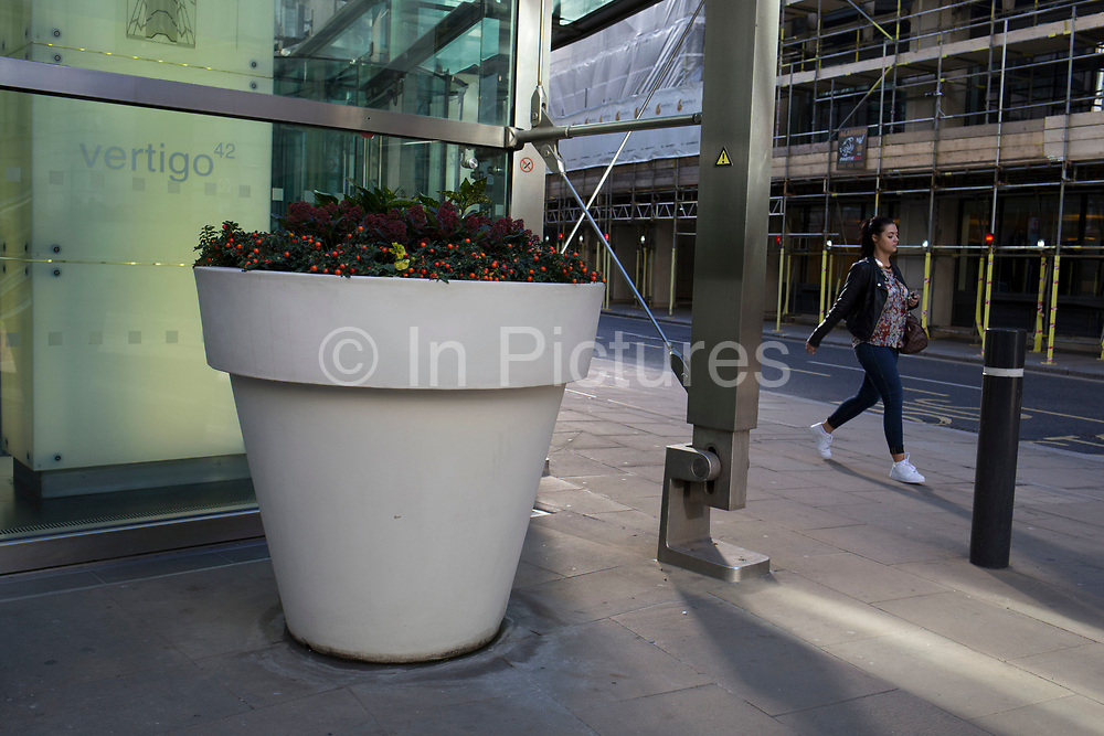 Large scale flower pot outside an office in the City of London, UK.