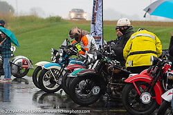 Rainy hosted lunch stop during the Cross Country Chase motorcycle endurance run from Sault Sainte Marie, MI to Key West, FL (for vintage bikes from 1930-1948). Stage 3 from Milwaukee, WI to Urbana, IL. USA. Sunday, September 8, 2019. Photography ©2019 Michael Lichter.