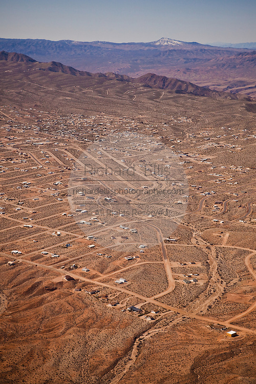 Aerial view of the remote high desert town of Temple Bar, AZ near the west rim of the Grand Canyon National Park.