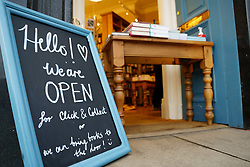 Edinburgh, Scotland, UK. 13 January 2020. Shops in Scotland now generally prohibited from offering Click and Collect service from front doors with some exceptions depending on type of goods on sale. Pic; Topping & Co bookshop is still offering Click & Collect at its front door.  Iain Masterton/Alamy Live News