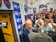 04 JANUARY 2020 - DES MOINES, IOWA: Vice President JOE BIDEN walks into the gym at McKinley Elementary School during a campaign event at the school. Vice President Biden is touring Iowa this week to support his candidacy for the US Presidency. Iowa hosts the first presidential selection event of the 2020 election cycle. The Iowa caucuses are on February 3, 2020.              PHOTO BY JACK KURTZ