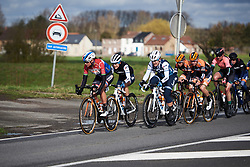 Chantal Blaak (NED) leads the bunch at Le Samyn des Dames 2019, a 101 km road race from Quaregnon to Dour, Belgium on March 5, 2019. Photo by Sean Robinson/velofocus.com