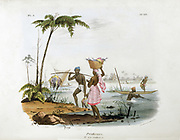 Fishermen using canoes and nets in a river. Man carries catch on pole and woman balances a basket of fish on her head. Hand-coloured lithograph from 'L'Inde francaise', Paris, 1828. Food