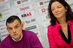 Jaka Kravanja and Marta Bon during press conference of handball team RK Krim Mercator before new season 2010-2011, on September 29, 2010 in M-Hotel, Ljubljana, Slovenia. (Photo By Vid Ponikvar / Sportida.com)