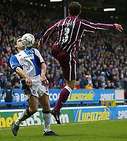 Photo Aidan Ellis.<br />Blackburn Rovers v Manchester City (FA Barclaycard Premiership) 01/03/03<br />Blackburn's David Dunn and City's Niclas Jensen