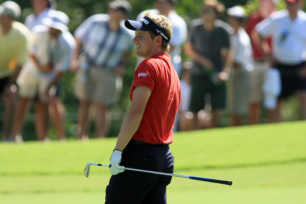 11 August 2007: Luke Donald reacts after his second shot from the fairway on the 1st hole during the third round of the 89th PGA Championship at Southern Hills Country Club in Tulsa, OK.