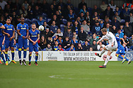 AFC Wimbledon striker Tyrone Barnett (31) with a free kick and shot on goal during the EFL Sky Bet League 1 match between AFC Wimbledon and Northampton Town at the Cherry Red Records Stadium, Kingston, England on 11 March 2017. Photo by Matthew Redman.
