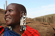 Africa, Tanzania, Lake Eyasi, Maasai Woman in traditional clothes and ornaments an ethnic group of semi-nomadic people February 2006