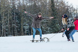 Three girls pulling young man standing on sled in snowy landscape, Bavaria, Germany