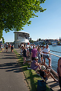 """Henley on Thames, United Kingdom, 29th June 2018, Friday, """"Henley Royal Regatta"""", Spectators, watch the Qualifying races, [Time Trails] from the viewing platform, """"floating grandstand"""" in the, backround, Henley Reach, River Thames, Thames Valley, England, © Peter SPURRIER, 29/06/2018"""