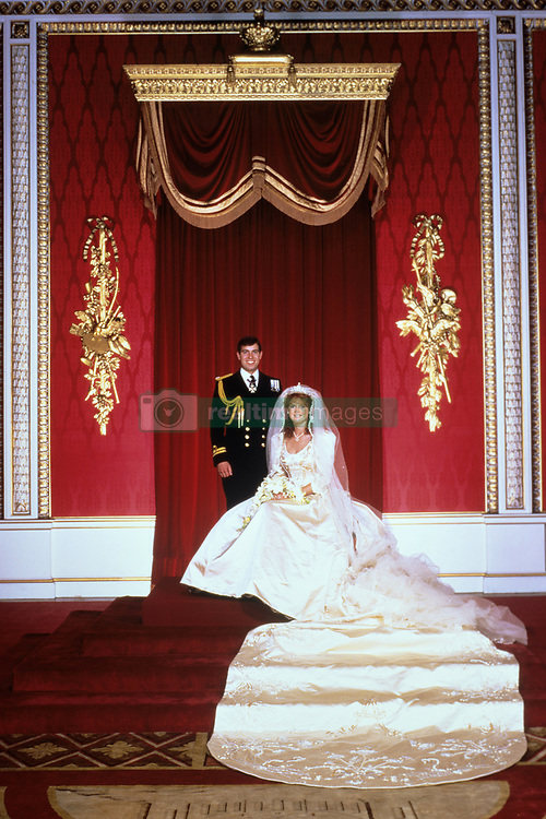 The Bride and Groom after the wedding ceremony, at Buckingham Palace, London. Prince Andrew, 26, married Miss Sarah Ferguson at Westminster Abbey. The Queen created her second son and new daughter in law 'the Duke and Duchess of York', according to tradition.