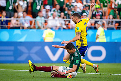 June 27, 2018 - Ekaterinburg, RUSSIA - 180627 Hector Moreno of Mexico and Marcus Berg of Sweden during the FIFA World Cup group stage match between Mexico and Sweden on June 27, 2018 in Ekaterinburg..Photo: Joel Marklund / BILDBYRN / kod JM / 87737 (Credit Image: © Joel Marklund/Bildbyran via ZUMA Press)