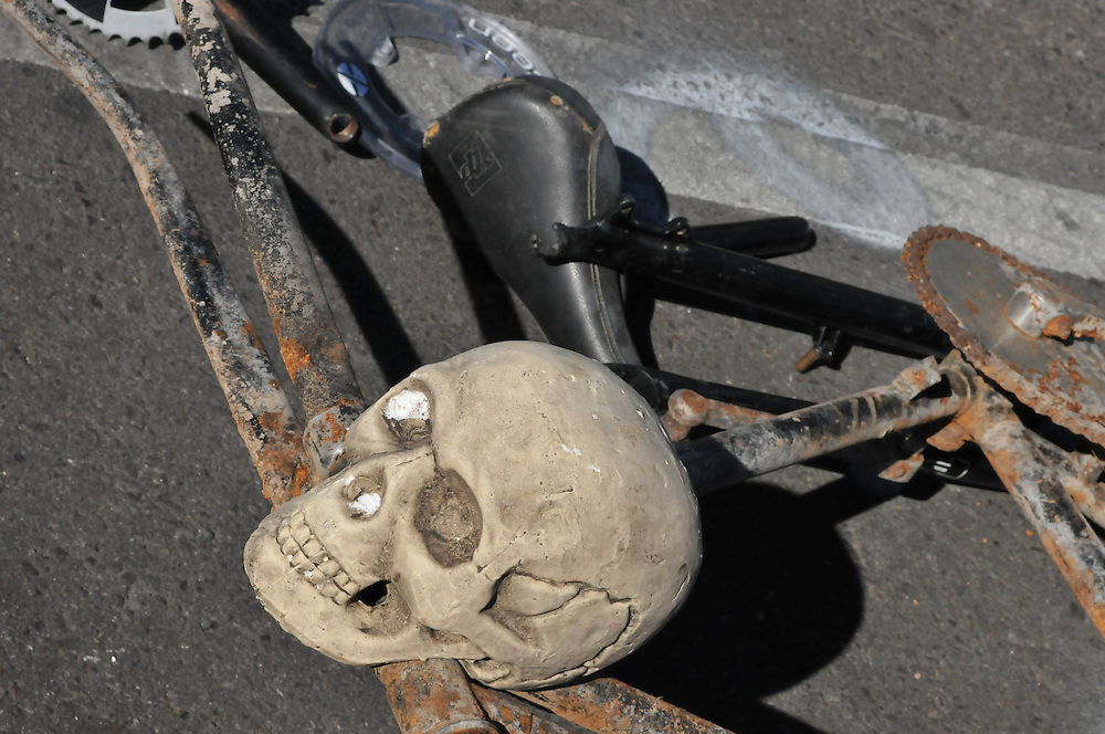Skull and used bike at 2013 Fall Bicycle Swap Meet, Tucson, Arizona. Bike-tography by Martha Retallick.