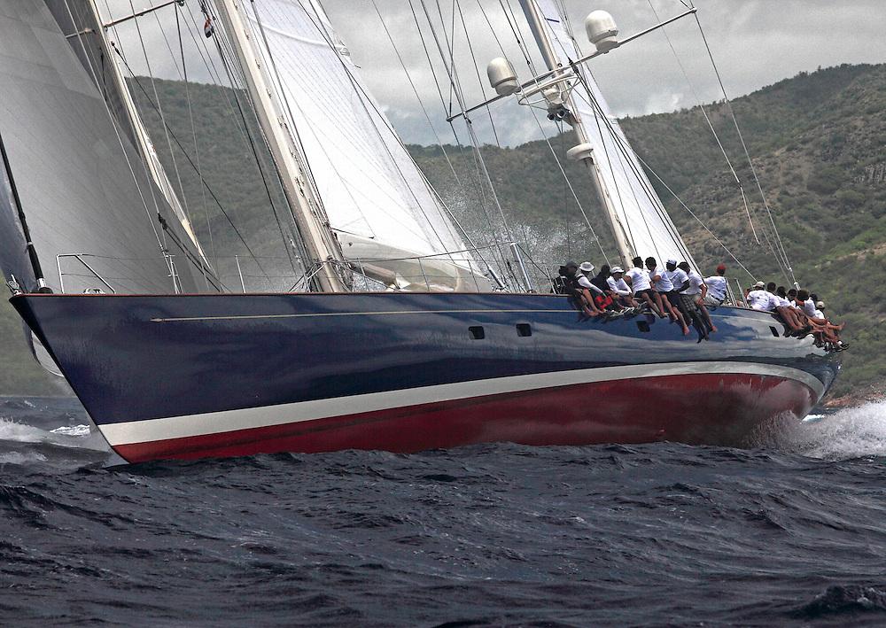 Classic yachts race in the 2010 Antigua Classica Regatta.