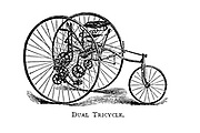 Dual Tricycle with two large front wheels From Wheels and Wheeling; An indispensable handbook for cyclists, with over two hundred illustrations by Porter, Luther Henry. Published in Boston in 1892