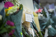 A note of remembrance on flowers laid In memory of Prince Philip The Royal Highness the Duke of Edinburgh, London on 9 April 2021.