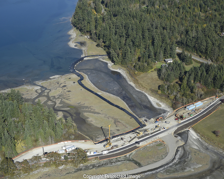Kilisut Harbor Bridge replacement and fish barrier removal project along Washington State Route 116 between Indian and Marrowstone Islands in northern Puget Sound.