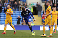 Cardiff City's Anthony Pilkington (13) celebrates after he scores  his and his teams second goal from a penalty.  Skybet football league championship match, Cardiff city v Preston NE at the Cardiff city stadium in Cardiff, South Wales on Saturday 27th Feb 2016.<br /> pic by Carl Robertson, Andrew Orchard sports photography.