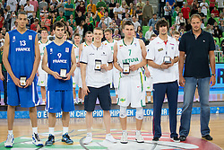 Top five players Rudy Gobert of France, Leo Westermann of France, Klemen Prepelic of Slovenia, Edgaras Ulanovas of Lithuania, Daniel Diez of Spain during ceremony after Lithuania won and become European Champions U-20 after basketball match between National teams of Lithuania and France in Final match of U20 Men European Championship Slovenia 2012, on July 22, 2012 in SRC Stozice, Ljubljana, Slovenia. Lithuania defeated France 50:49. (Photo by Matic Klansek Velej / Sportida.com)