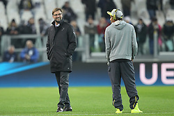 24.02.2015, Veltins Arena, Turin, ITA, UEFA CL, Juventus Turin vs Borussia Dortmund, Achtelfinale, Hinspiel, im Bild l-r: Chef-Trainer Juergen Klopp (Borussia Dortmund) und Pierre-Emerick Aubameyang #17 (Borussia Dortmund) auf dem Rasen gut gelaunt // during the UEFA Champions League Round of 16, 1st Leg match between between Juventus Turin and Borussia Dortmund at the Veltins Arena in Turin, Italy on 2015/02/24. EXPA Pictures © 2015, PhotoCredit: EXPA/ Eibner-Pressefoto/ Kolbert<br /> <br /> *****ATTENTION - OUT of GER*****