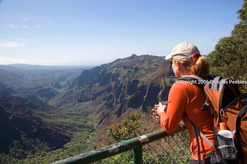 Woman at overlook, Waimea Canyon, Kauai, Hawaii