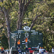 The scoreboard is adjusted while India and Pakistan compete in the first match of group B of the ICC Women's World Cup Cricket  at the picturesque setting of Bradman Oval, Bowral in the New South Wales Southern Highlands, Australia on March 7, 2009. Pakistan were bowled out for 57 while Indian won the match reaching 58 without loss. Photo Tim Clayton