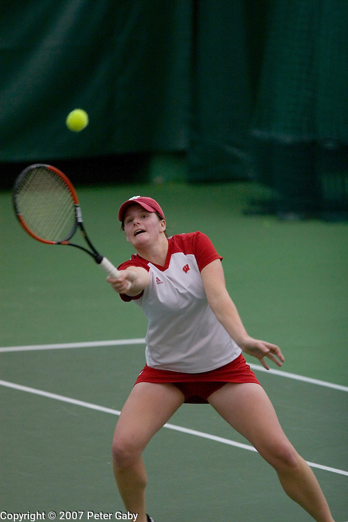 Elizabeth carpenter during doubles play at the 2007 USTA/ITA National Women's Team Indoor Championships at the Nielsen Tennis Stadium, Feb. 1st-4th hosted by the University of Wisconsin.