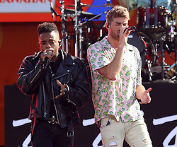 August 10, 2018 - New York City, New York, U.S. - Singers DREW LOVE and ANDREW TAGGART from 'The Chainsmokers' perform on 'Good Morning America' held in Central Park. (Credit Image: © Nancy Kaszerman via ZUMA Wire)