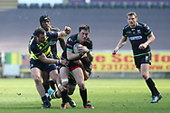Sam Davies of the Ospreys © is held up as he breaks for the line. Guinness Pro12 rugby match, Ospreys v Leinster Rugby at the Liberty Stadium in Swansea, South Wales on Saturday 8th April 2017. <br /> pic by Andrew Orchard, Andrew Orchard sports photography.