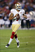 San Francisco 49ers quarterback Colin Kaepernick (7) drops back to pass during the 2016 NFL preseason football game against the San Diego Chargers on Thursday, Sept. 1, 2016 in San Diego. The 49ers won the game 31-21. (©Paul Anthony Spinelli)