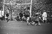All Ireland Senior Football Championship Final, Kerry v Down, 22.09.1968, 09.22.1968, 22nd September 1968, Down 2-12 Kerry 1-13, Referee M Loftus (Mayo)..Kerry forward L Prendergast gets in his kick surrounded by Down defenders in overwhelming numbers but ball went wide ,