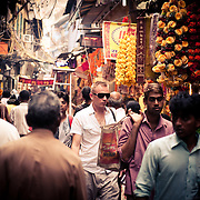 Tourists explore the bylanes of Old Delhi area.