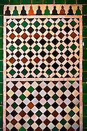 Berber tiles of the  Alaouite Ksar Fida built by Moulay Ismaïl the second ruler of the Moroccan Alaouite dynasty ( reigned 1672–1727 ). Residence of the Khalifa or Caid of Tafilalet until 1965. Tafilalet Oasis, near Rissini, Morocco .<br /> <br /> Visit our MOROCCO HISTORIC PLAXES PHOTO COLLECTIONS for more   photos  to download or buy as prints https://funkystock.photoshelter.com/gallery-collection/Morocco-Pictures-Photos-and-Images/C0000ds6t1_cvhPo<br /> .<br /> <br /> Visit our ISLAMIC HISTORICAL PLACES PHOTO COLLECTIONS for more photos to download or buy as wall art prints https://funkystock.photoshelter.com/gallery-collection/Islam-Islamic-Historic-Places-Architecture-Pictures-Images-of/C0000n7SGOHt9XWI