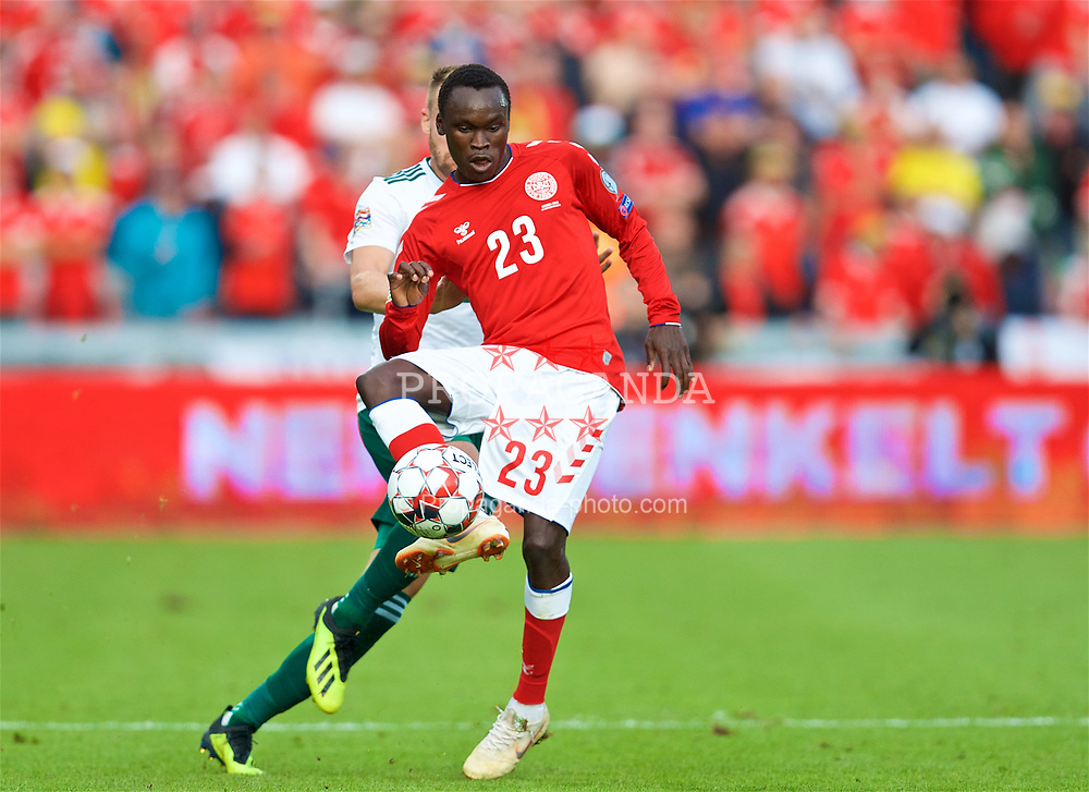 AARHUS, DENMARK - Sunday, September 9, 2018: Denmark's Pione Sisto during the UEFA Nations League Group Stage League B Group 4 match between Denmark and Wales at the Aarhus Stadion. (Pic by David Rawcliffe/Propaganda)