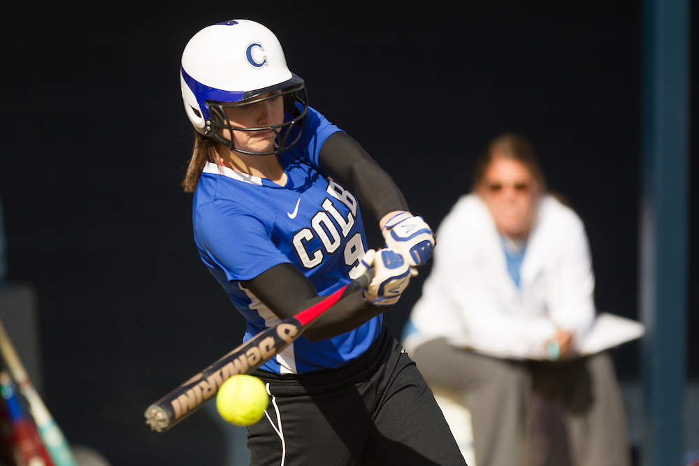 Emily Schatz, of Colby College, during a NCAA Division III women's softball game against at Colby College on April 25, 2014 in Waterville, ME. (Dustin Satloff/Colby Athletics)