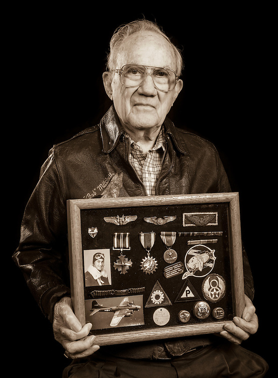 Bob Mitchell, Jr. was a B-17 ball-turret gunner in the 544 Bomb Squadron, 384th Bomb Group.  Originally from Alabama, he completed 38 missions, and later earned a masters degree from Vanderbilt University.   <br /> Created by aviation photographer John Slemp of Aerographs Aviation Photography. Clients include Goodyear Aviation Tires, Phillips 66 Aviation Fuels, Smithsonian Air & Space magazine, and The Lindbergh Foundation.  Specialising in high end commercial aviation photography and the supply of aviation stock photography for advertising, corporate, and editorial use.
