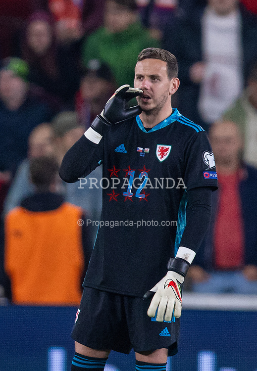 PRAGUE, CZECH REPUBLIC - Friday, October 8, 2021: Wales' goalkeeper Daniel Ward during the FIFA World Cup Qatar 2022 Qualifying Group E match between Czech Republic and Wales at the Sinobo Stadium. The game ended in a 2-2 draw. (Pic by David Rawcliffe/Propaganda)