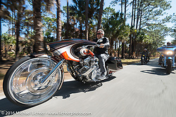 Cory Ness riding his side-by-side twin engine custom in Tamoka State Park with son Zach and father Arlen during the Daytona Bike Week 75th Anniversary event. FL, USA. Monday March 7, 2016.  Photography ©2016 Michael Lichter.
