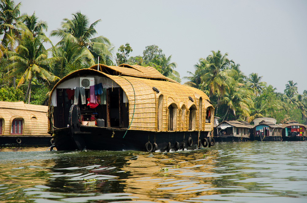 Traditional houseboats on Kerala Backwaters, Indian Subcontinent
